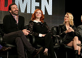 Actor Jon Hamm actress Christina Hendricks and actress January Jones speak onstage during the 'Mad Men' panel at the AMC portion of the 2015 Winter...