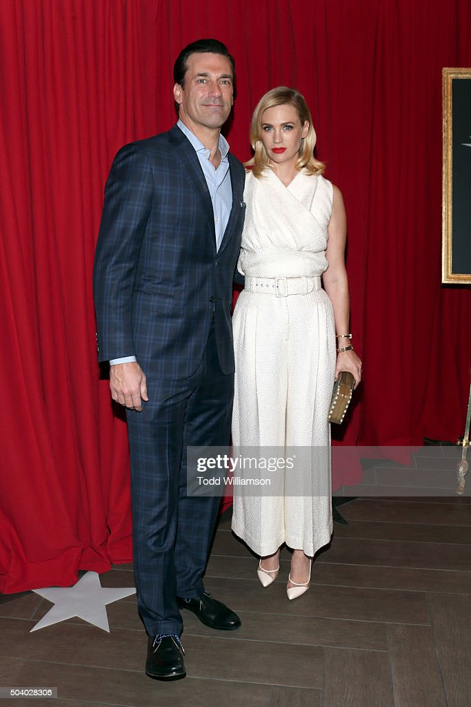 Actor Jon Hamm (L) and actress January Jones attend the 16th Annual AFI Awards at Four Seasons Hotel Los Angeles at Beverly Hills on January 8, 2016 in Beverly Hills, California.