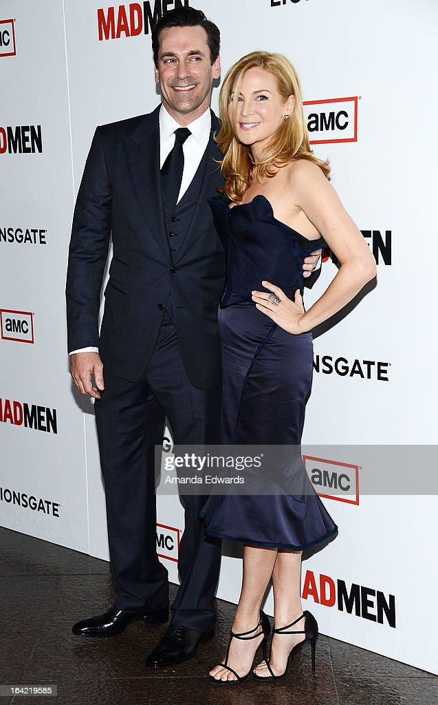 Actor Jon Hamm (L) and actress Jennifer Westfeldt arrive at AMC's 'Mad Men' Season 6 Premiere at the DGA Theater on March 20, 2013 in Los Angeles, California.