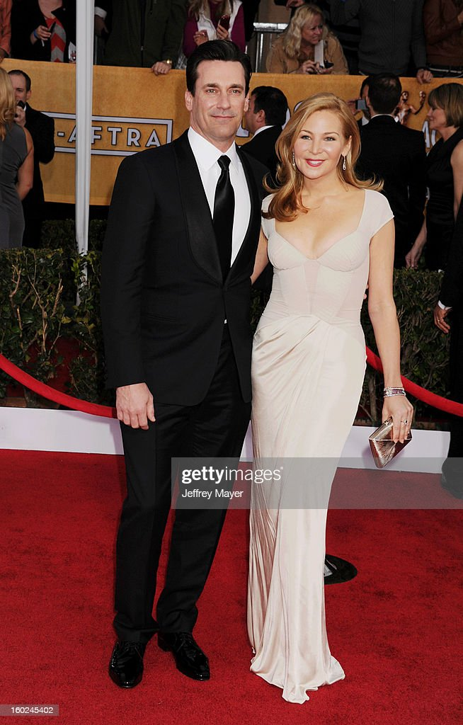 Actor Jon Hamm and actress Jennifer Westfeldt arrive at the 19th Annual Screen Actors Guild Awards at The Shrine Auditorium on January 27, 2013 in Los Angeles, California.