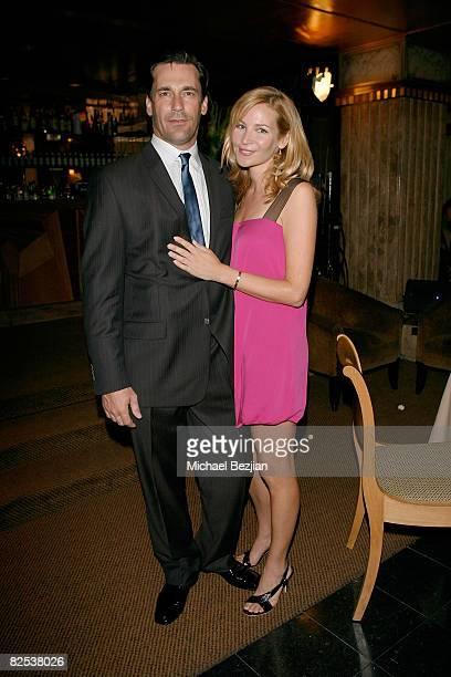 Actor Jon Hamm and actress Jennifer Westfeldt attend AMC's Mad Men Season Two Wrap Party Sponsored by Heineken on August 23 2008 in Los Angeles...