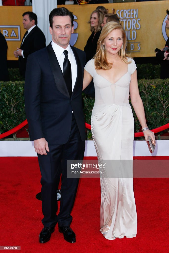 Actor <a gi-track='captionPersonalityLinkClicked' href=/galleries/search?phrase=Jon+Hamm&family=editorial&specificpeople=3027367 ng-click='$event.stopPropagation()'>Jon Hamm</a> (L) and actress <a gi-track='captionPersonalityLinkClicked' href=/galleries/search?phrase=Jennifer+Westfeldt&family=editorial&specificpeople=228494 ng-click='$event.stopPropagation()'>Jennifer Westfeldt</a> attend the 19th Annual Screen Actors Guild Awards at The Shrine Auditorium on January 27, 2013 in Los Angeles, California.