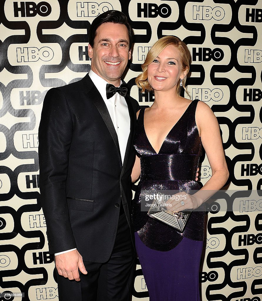 Actor <a gi-track='captionPersonalityLinkClicked' href=/galleries/search?phrase=Jon+Hamm&family=editorial&specificpeople=3027367 ng-click='$event.stopPropagation()'>Jon Hamm</a> and actress <a gi-track='captionPersonalityLinkClicked' href=/galleries/search?phrase=Jennifer+Westfeldt&family=editorial&specificpeople=228494 ng-click='$event.stopPropagation()'>Jennifer Westfeldt</a> attend the HBO after party at the 70th annual Golden Globe Awards at Circa 55 restaurant at the Beverly Hilton Hotel on January 13, 2013 in Los Angeles, California.