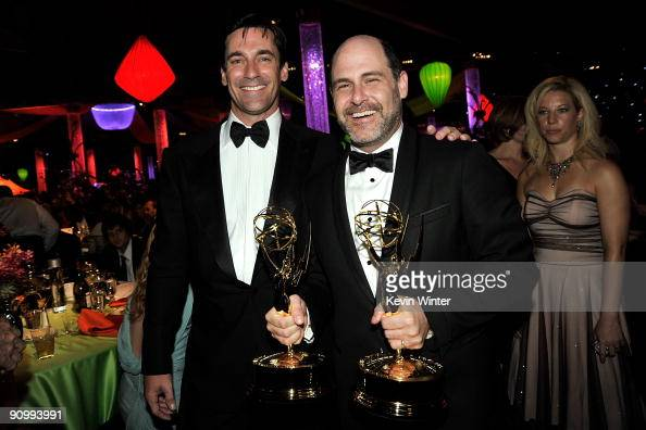 Actor Jon Hamm and creator/exectutive producer Matthew Weiner of 'Mad Men' attend the Governors Ball for the 61st Primetime Emmy Awards held at the...