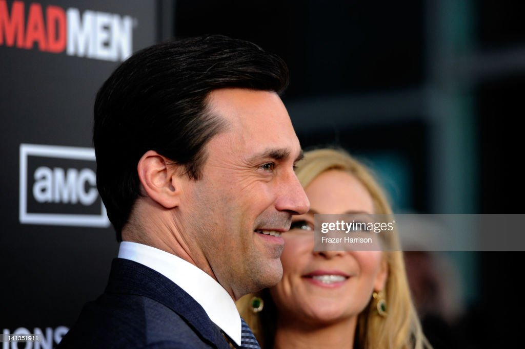 Actor <a gi-track='captionPersonalityLinkClicked' href=/galleries/search?phrase=Jon+Hamm&family=editorial&specificpeople=3027367 ng-click='$event.stopPropagation()'>Jon Hamm</a> and <a gi-track='captionPersonalityLinkClicked' href=/galleries/search?phrase=Jennifer+Westfeldt&family=editorial&specificpeople=228494 ng-click='$event.stopPropagation()'>Jennifer Westfeldt</a> arrive at the Premiere of AMC's 'Mad Men' Season 5 at ArcLight Cinemas on March 14, 2012 in Hollywood, California.