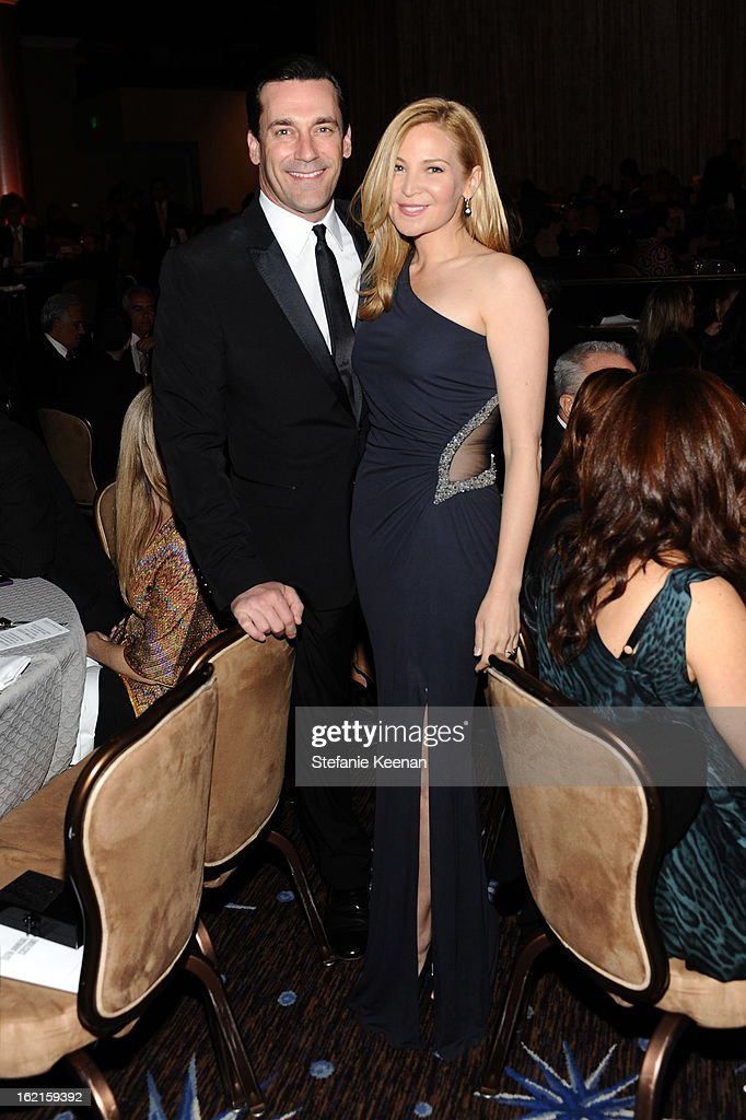 Actor <a gi-track='captionPersonalityLinkClicked' href=/galleries/search?phrase=Jon+Hamm&family=editorial&specificpeople=3027367 ng-click='$event.stopPropagation()'>Jon Hamm</a> and wife <a gi-track='captionPersonalityLinkClicked' href=/galleries/search?phrase=Jennifer+Westfeldt&family=editorial&specificpeople=228494 ng-click='$event.stopPropagation()'>Jennifer Westfeldt</a> attend the 15th Annual Costume Designers Guild Awards with presenting sponsor Lacoste at The Beverly Hilton Hotel on February 19, 2013 in Beverly Hills, California.