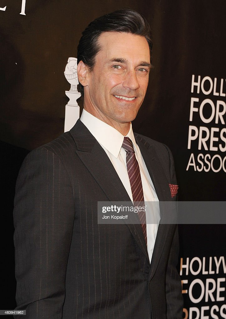 Actor Jon Hamm arrives at Hollywood Foreign Press Association Hosts Annual Grants Banquet at the Beverly Wilshire Four Seasons Hotel on August 13...
