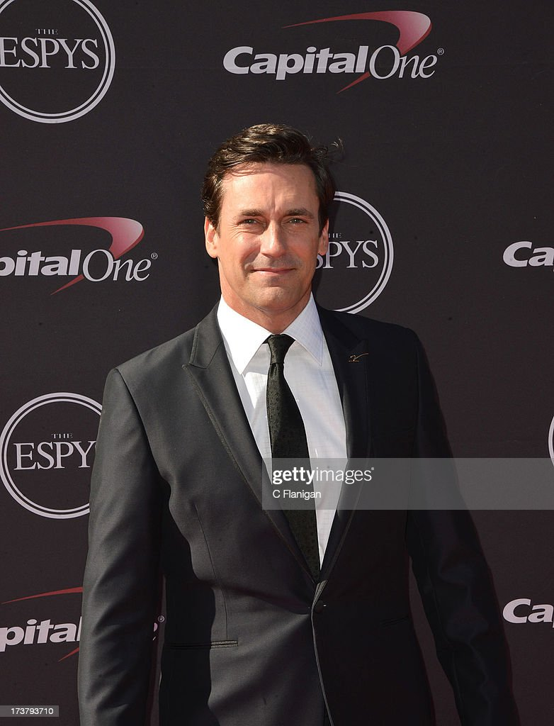 Actor <a gi-track='captionPersonalityLinkClicked' href=/galleries/search?phrase=Jon+Hamm&family=editorial&specificpeople=3027367 ng-click='$event.stopPropagation()'>Jon Hamm</a> arrives at the 2013 ESPY Awards at Nokia Theatre L.A. Live on July 17, 2013 in Los Angeles, California.