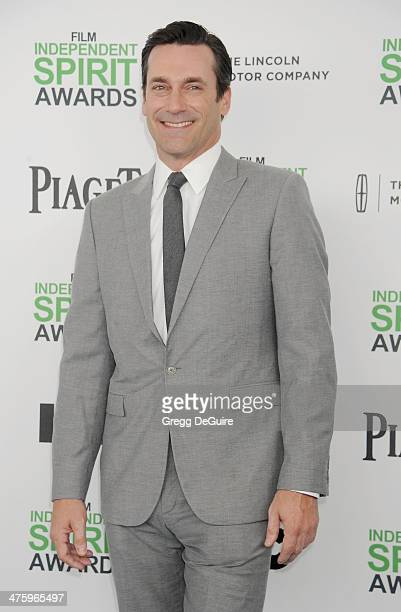 Actor Jon Hamm arrives at the 2014 Film Independent Spirit Awards on March 1 2014 in Santa Monica California