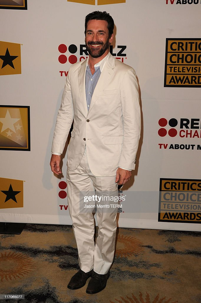 Actor <a gi-track='captionPersonalityLinkClicked' href=/galleries/search?phrase=Jon+Hamm&family=editorial&specificpeople=3027367 ng-click='$event.stopPropagation()'>Jon Hamm</a> arrives at the Critics' Choice Television Awards at Beverly Hills Hotel on June 20, 2011 in Beverly Hills, California.