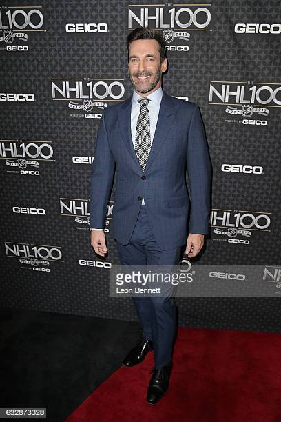 Actor Jon Hamm arrives at the NHL 100 presented by GEICO Red Carpet as part of the 2017 NHL AllStar Weekend at the Microsoft Theater on January 27...