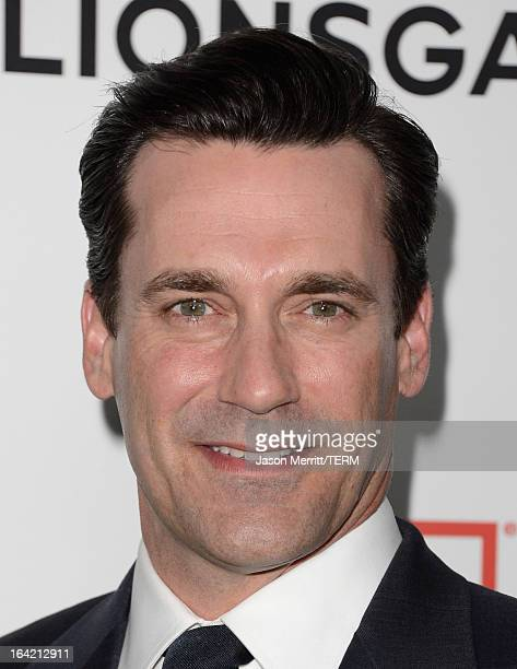 Actor Jon Hamm arrives at the Premiere of AMC's 'Mad Men' Season 6 at DGA Theater on March 20 2013 in Los Angeles California