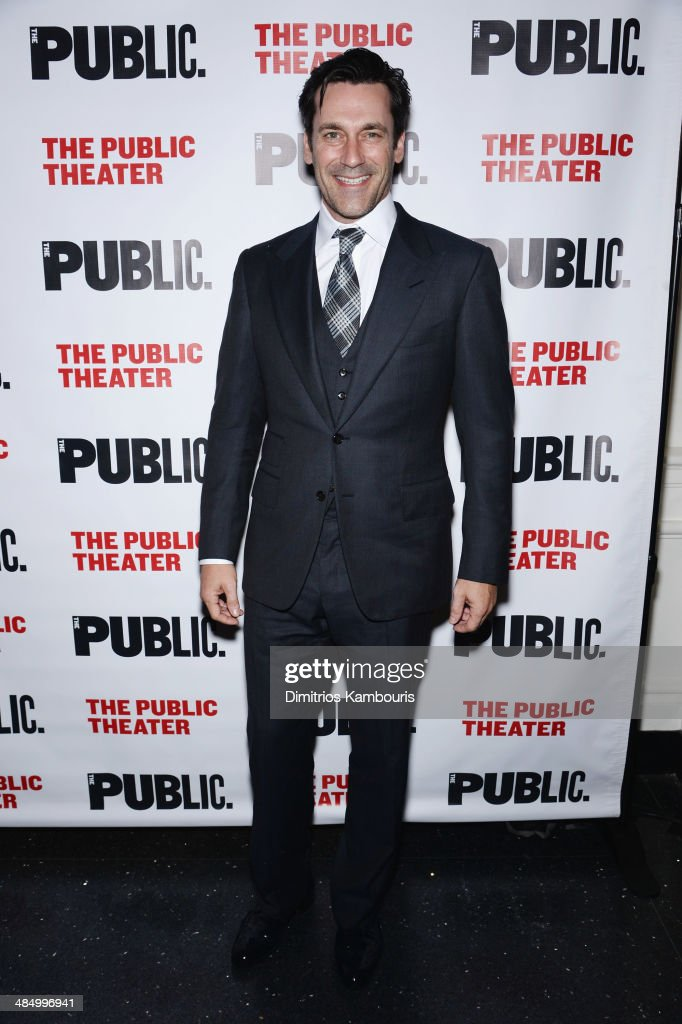 Actor <a gi-track='captionPersonalityLinkClicked' href=/galleries/search?phrase=Jon+Hamm&family=editorial&specificpeople=3027367 ng-click='$event.stopPropagation()'>Jon Hamm</a> attends 'The Library' opening night celebration at The Public Theater on April 15, 2014 in New York City.