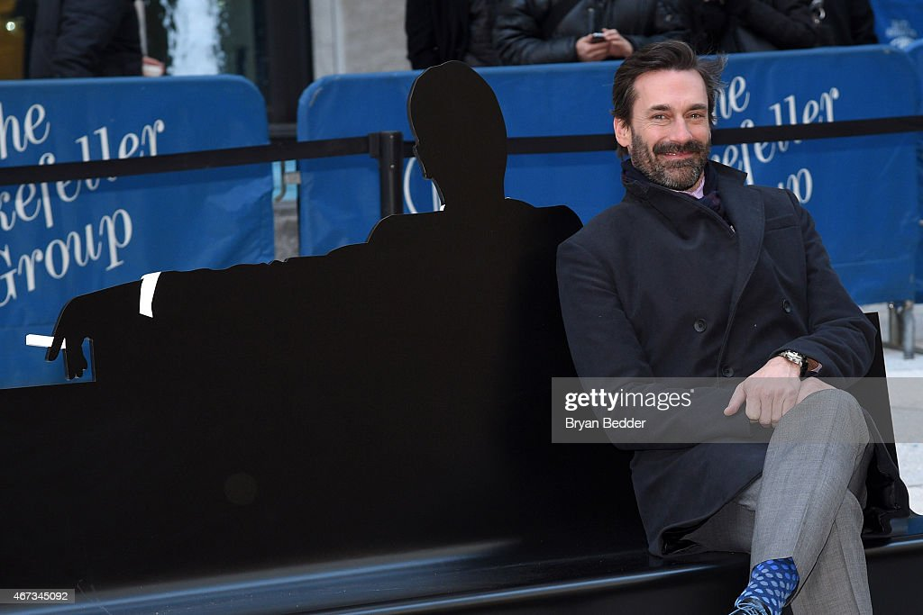 Actor Jon Hamm attends the 'Mad Men' art installation unveiling at Time Life Building on March 23 2015 in New York City