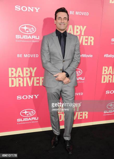 Actor Jon Hamm attends the premiere of 'Baby Driver' at Ace Hotel on June 14 2017 in Los Angeles California
