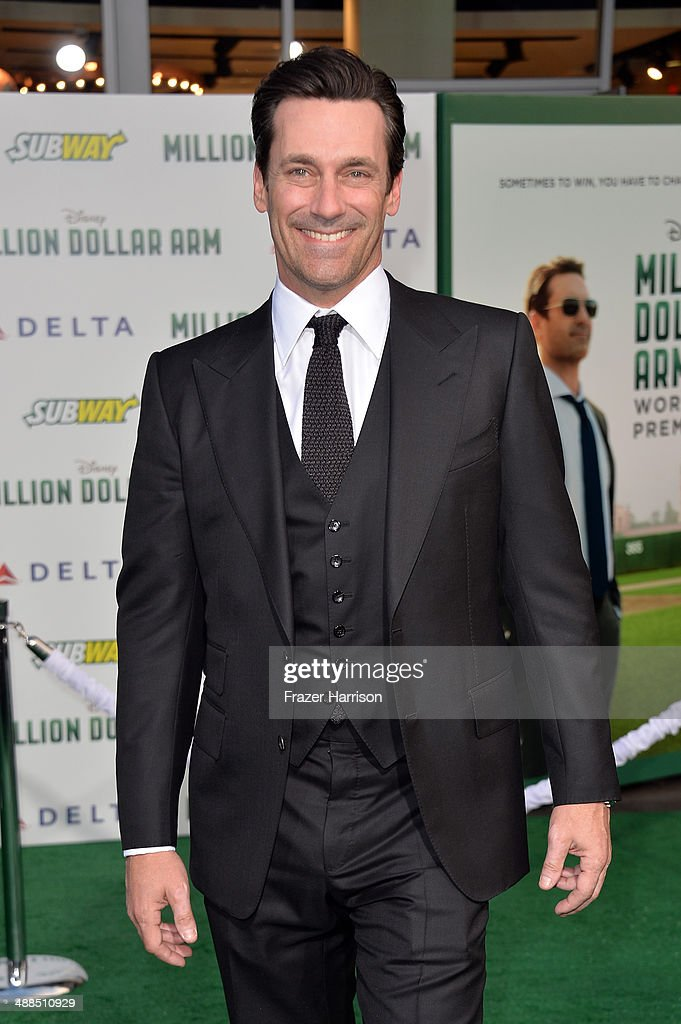 Actor <a gi-track='captionPersonalityLinkClicked' href=/galleries/search?phrase=Jon+Hamm&family=editorial&specificpeople=3027367 ng-click='$event.stopPropagation()'>Jon Hamm</a> attends the premiere of Disney's 'Million Dollar Arm' at the El Capitan Theatre on May 6, 2014 in Hollywood, California.