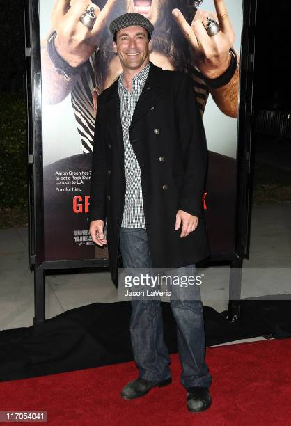Actor Jon Hamm attends the premiere of 'Get Him To The Greek' at The Greek Theatre on May 25 2010 in Los Angeles California