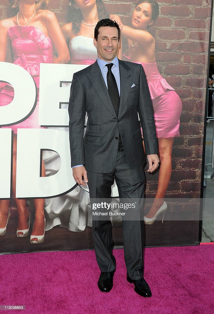 Actor <a gi-track='captionPersonalityLinkClicked' href=/galleries/search?phrase=Jon+Hamm&family=editorial&specificpeople=3027367 ng-click='$event.stopPropagation()'>Jon Hamm</a> attends the Premiere Of Universal Pictures' 'Bridesmaids' at Mann Village Theatre on April 28, 2011 in Westwood, California.
