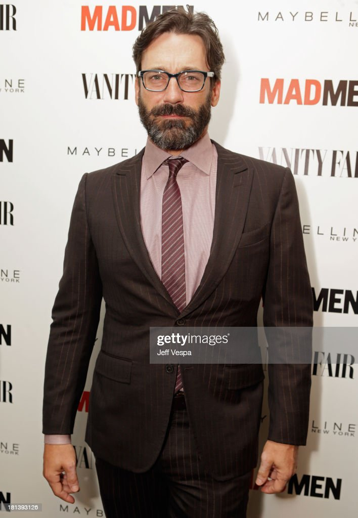 Actor <a gi-track='captionPersonalityLinkClicked' href=/galleries/search?phrase=Jon+Hamm&family=editorial&specificpeople=3027367 ng-click='$event.stopPropagation()'>Jon Hamm</a> attends Vanity Fair and Maybelline toast to 'Mad Men' at Chateau Marmont on September 20, 2013 in Los Angeles, California.