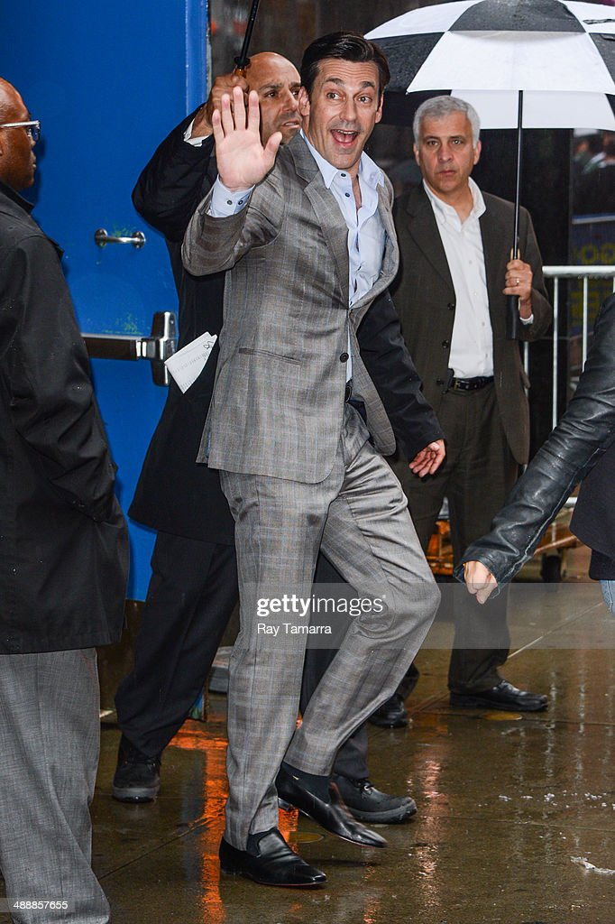 Actor <a gi-track='captionPersonalityLinkClicked' href=/galleries/search?phrase=Jon+Hamm&family=editorial&specificpeople=3027367 ng-click='$event.stopPropagation()'>Jon Hamm</a> leaves the 'Good Morning America' taping at the ABC Times Square Studios on May 8, 2014 in New York City.