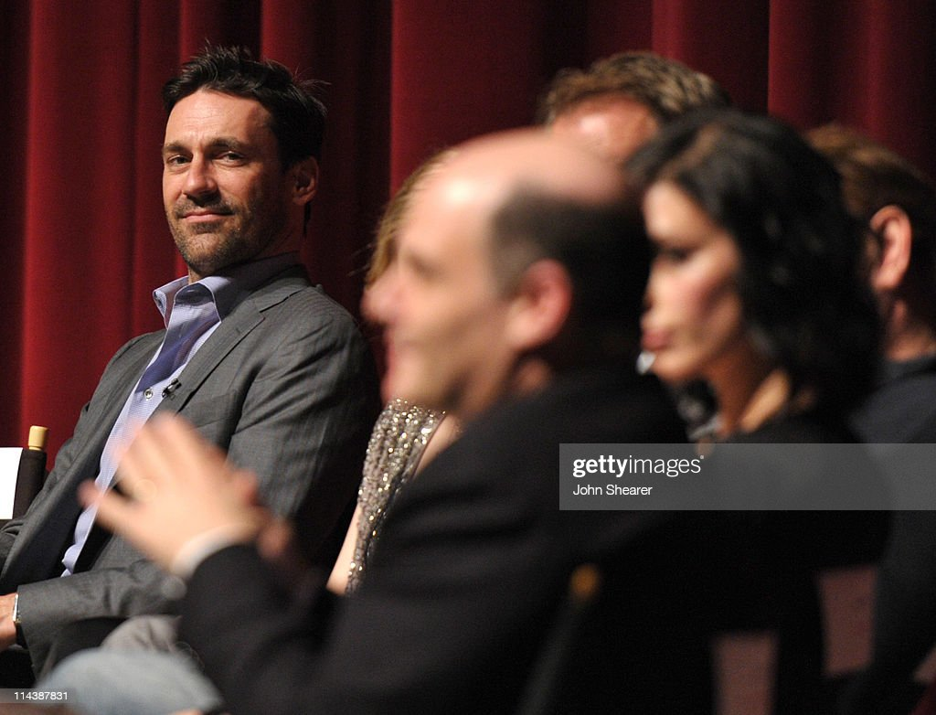 Actor <a gi-track='captionPersonalityLinkClicked' href=/galleries/search?phrase=Jon+Hamm&family=editorial&specificpeople=3027367 ng-click='$event.stopPropagation()'>Jon Hamm</a> (L) on stage at the 'Mad Men' ATAS Screening at Leonard Goldenson Theatre on May 18, 2011 in North Hollywood, California.