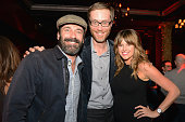 Actor Jon Hamm producer/ator Stephen Merchant and Sarah Wright attend HBO's 'Hello Ladies' friends and family screening at Avalon on September 26...