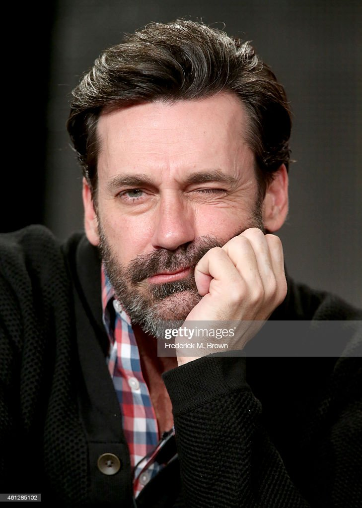 Actor Jon Hamm speaks onstage during the 'Mad Men' panel at the AMC portion of the 2015 Winter Television Critics Association press tour at the...