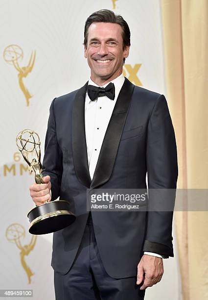 Actor Jon Hamm winner of Outstanding Lead Actor in a Drama Series for 'Mad Men' poses in the press room at the 67th Annual Primetime Emmy Awards at...