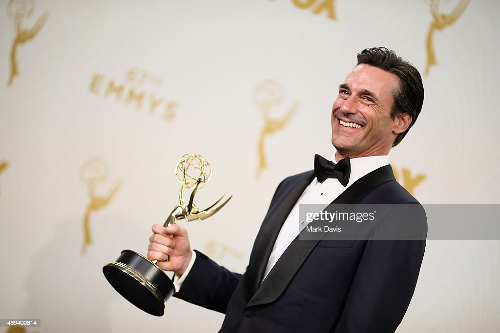 Actor Jon Hamm winner of the award for Outstanding Lead Actor in a Drama Series for 'Mad Men' poses in the press room at the 67th Annual Primetime...
