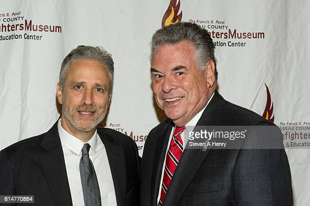 Actor Jon Stewart and Congressman Peter King attends the 2016 Firefighters Humanitarian Awards at the Nassau County Firefighters Museum on October 14...