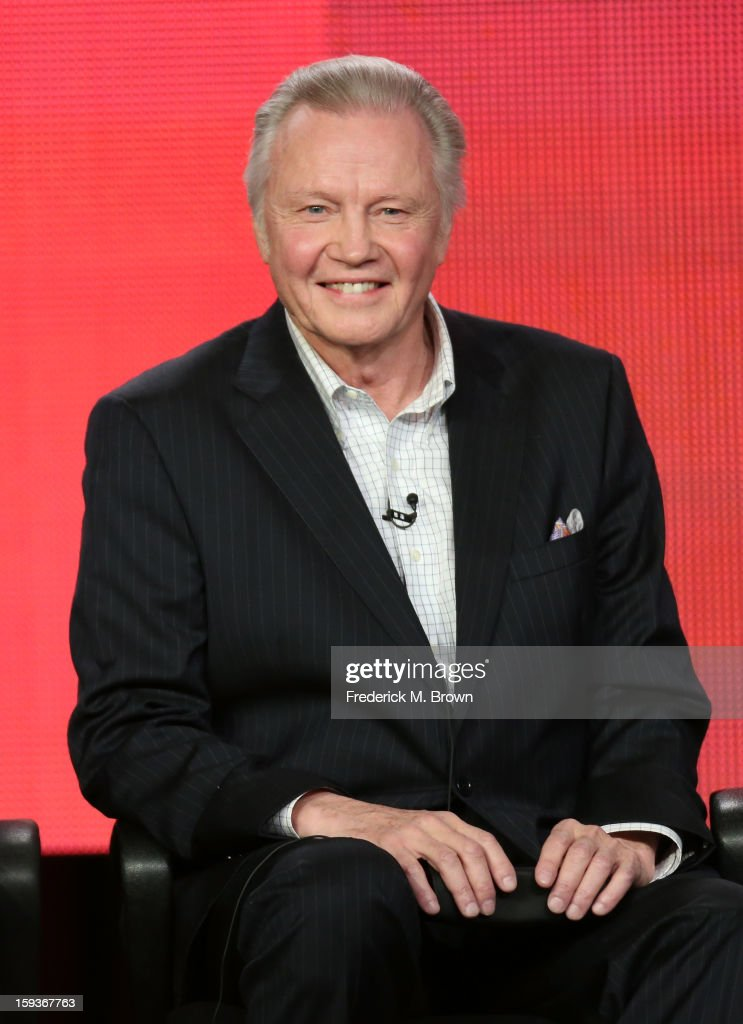 Actor <a gi-track='captionPersonalityLinkClicked' href=/galleries/search?phrase=Jon+Voight&family=editorial&specificpeople=202872 ng-click='$event.stopPropagation()'>Jon Voight</a> of 'Ray Donovan' speaks onstage during the Showtime portion of the 2013 Winter TCA Tour at Langham Hotel on January 12, 2013 in Pasadena, California.