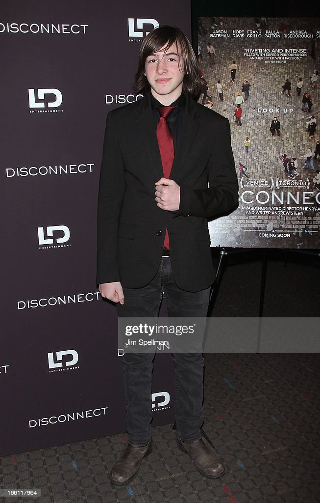 Actor Jonah Bobo attends 'Disconnect' New York Special Screening at SVA Theater on April 8 2013 in New York City