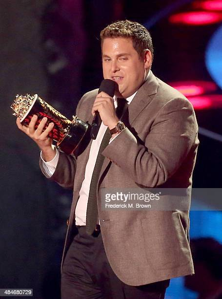 Actor Jonah Hill accepts the Best Comedic Performance award for 'The Wolf of Wall Street' onstage at the 2014 MTV Movie Awards at Nokia Theatre LA...
