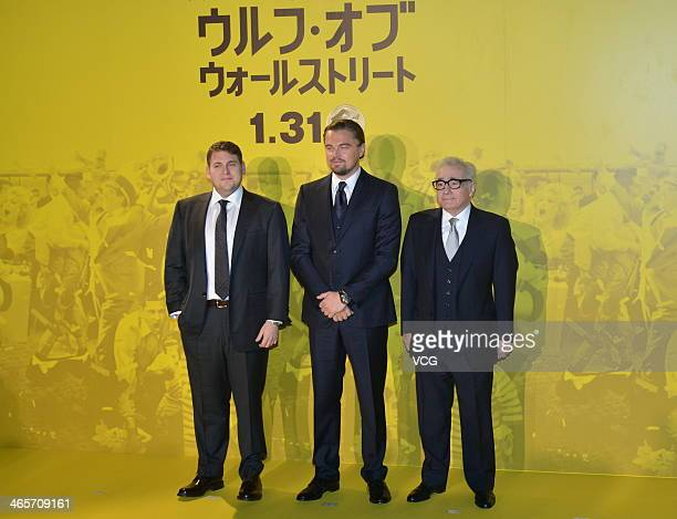 Actor Jonah Hill actor Leonardo DiCaprio and film director Martin Scorsese attend the Japan Premiere for The Wolf of Wall Street at the Roppongi...