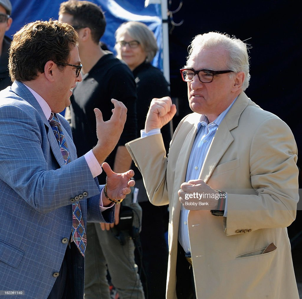 Actor Jonah Hill and director Martin Scorsese filming on location for 'The Wolf Of Wall Street' on September 17, 2012 in Emerson, New Jersey.