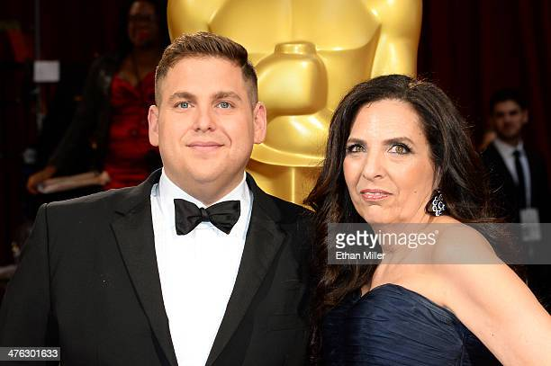 Actor Jonah Hill and mother Sharon Lyn Chalkin attend the Oscars held at Hollywood Highland Center on March 2 2014 in Hollywood California