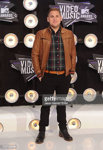 Actor Jonah Hill arrives at the 2011 MTV Video Music Awards at Nokia Theatre LA LIVE on August 28 2011 in Los Angeles California