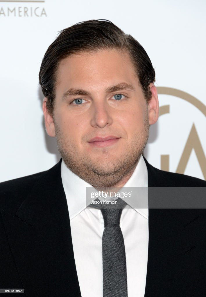 Actor <a gi-track='captionPersonalityLinkClicked' href=/galleries/search?phrase=Jonah+Hill&family=editorial&specificpeople=544481 ng-click='$event.stopPropagation()'>Jonah Hill</a> arrives at the 24th Annual Producers Guild Awards held at The Beverly Hilton Hotel on January 26, 2013 in Beverly Hills, California.