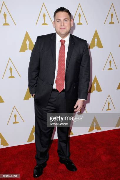 Actor Jonah Hill attends the 86th Academy Awards nominee luncheon at The Beverly Hilton Hotel on February 10 2014 in Beverly Hills California