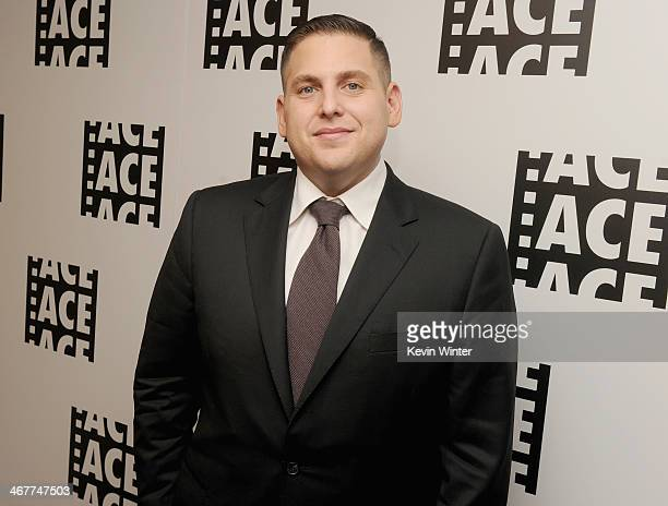 Actor Jonah Hill poses in the green room at the 64th Annual ACE Eddie Awards at the Beverly Hilton Hotel on February 7 2014 in Beverly Hills...