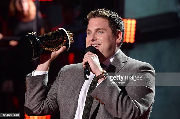 Actor Jonah Hill speaks onstage at the 2014 MTV Movie Awards at Nokia Theatre LA Live on April 13 2014 in Los Angeles California
