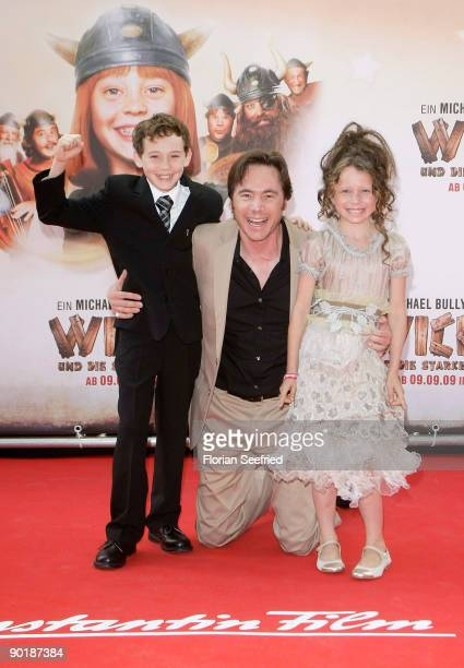 Actor Jonas Haemmerle director actor Michael 'Bully' Herbig and actress Jadea Mercedes Diaz attend the premiere of 'Vicky The Viking' at Mathaeser...