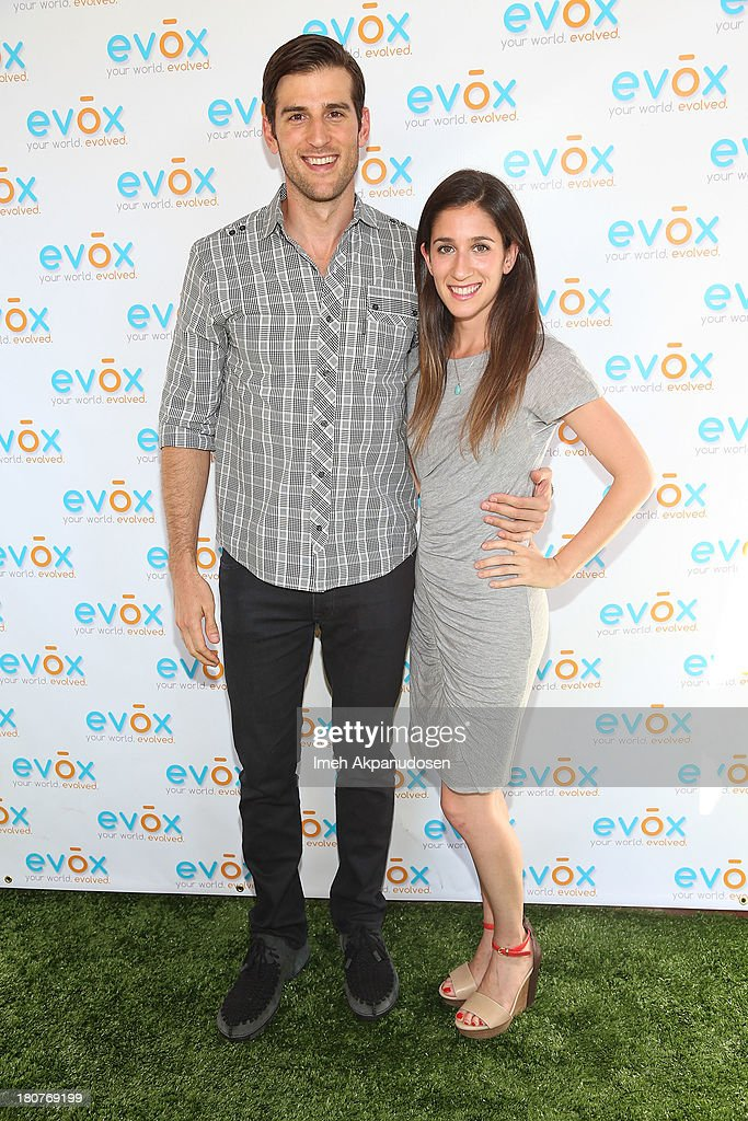 Actor Jonathan Chase (L) and dietitian Sarah Lefkowitz attend the green carpet launch for the Evox TV debut of his new family show, 'On Begley Street' on September 15, 2013 in Pasadena, California.