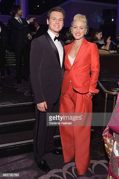 Actor Jonathan Groff and Costume designer Trish Summerville attend the 17th Costume Designers Guild Awards with presenting sponsor Lacoste at The...