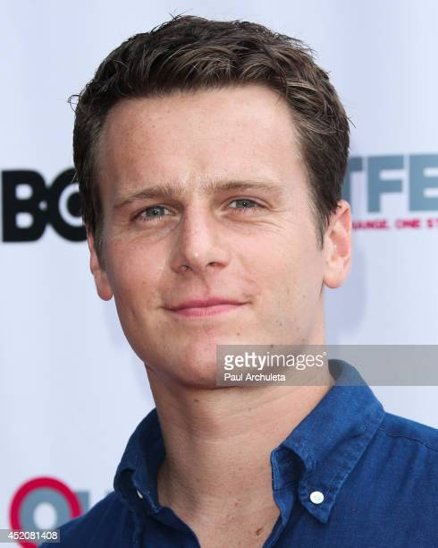 Actor Jonathan Groff attends the 2014 Outfest Los Angeles panel discussion of 'Inside Looking' at the DGA Theater on July 12 2014 in Los Angeles...