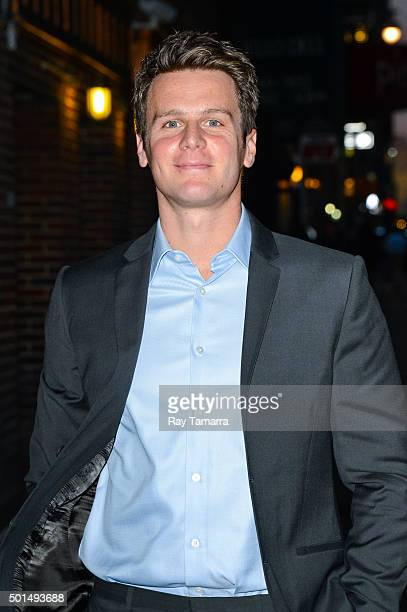 Actor Jonathan Groff enters the 'The Late Show With Stephen Colbert' at the Ed Sullivan Theater on December 15 2015 in New York City