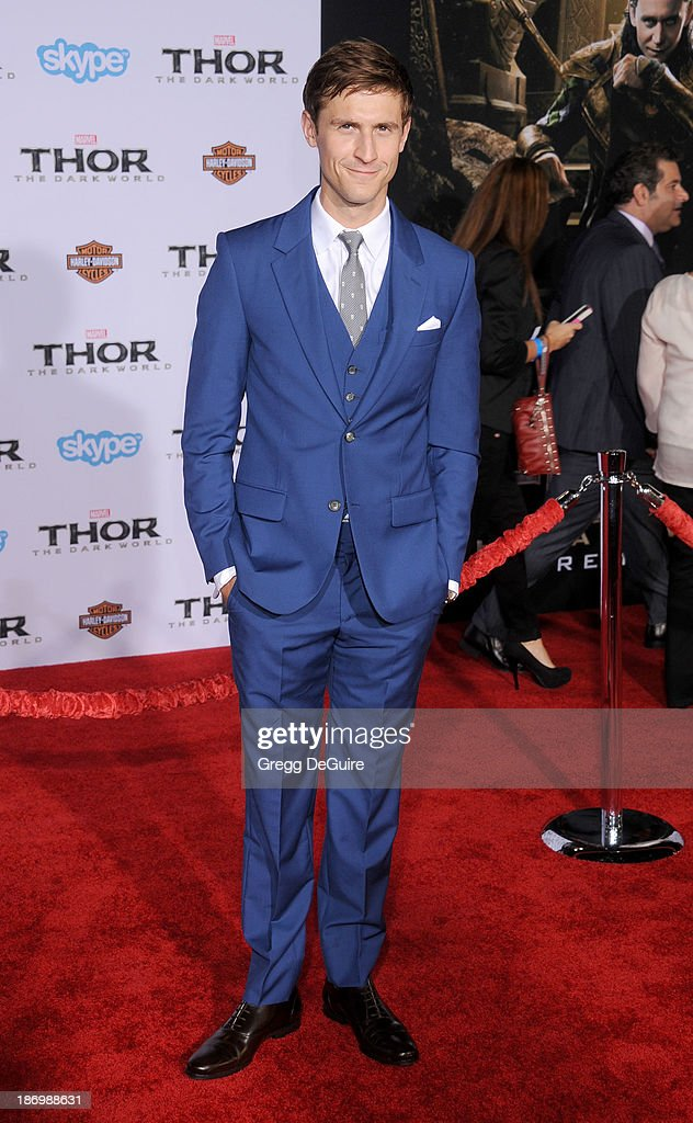 Actor Jonathan Howard arrives at the Los Angeles premiere of 'Thor: The Dark World' at the El Capitan Theatre on November 4, 2013 in Hollywood, California.