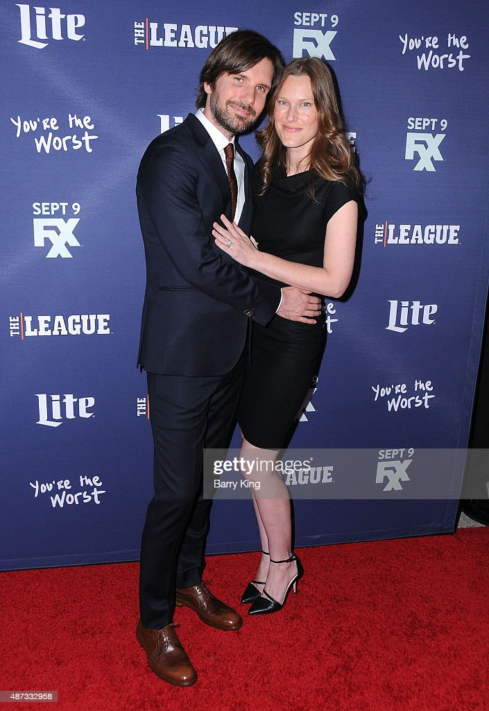 Actor Jonathan Lajoie (L) and his wife Leah attend the premiere of FXX's 'The League' final season and 'You're The Worst' 2nd season at the Regency Bruin Theater on September 8, 2015 in Westwood, California.