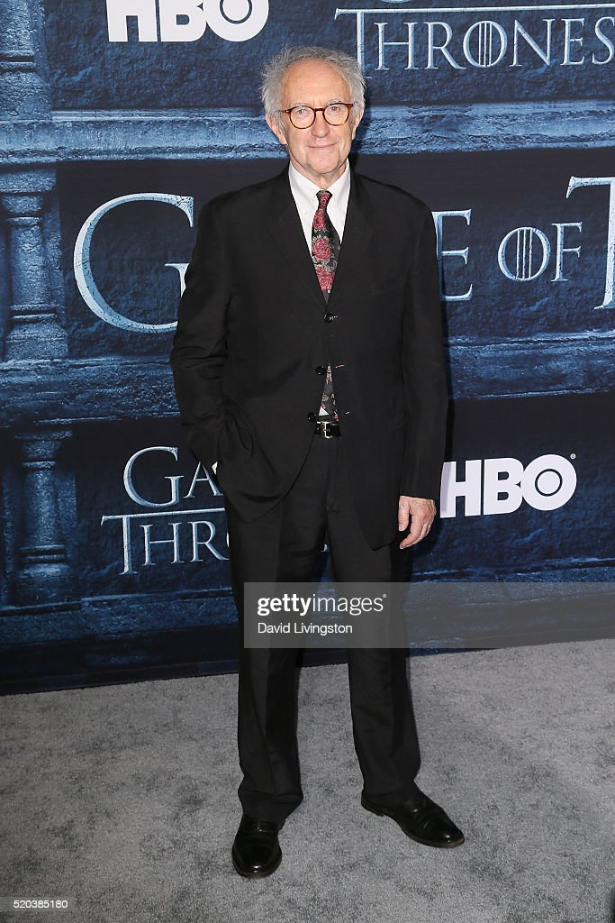 Actor <a gi-track='captionPersonalityLinkClicked' href=/galleries/search?phrase=Jonathan+Pryce&family=editorial&specificpeople=209115 ng-click='$event.stopPropagation()'>Jonathan Pryce</a> arrives at the premiere of HBO's 'Game of Thrones' Season 6 at the TCL Chinese Theatre on April 10, 2016 in Hollywood, California.