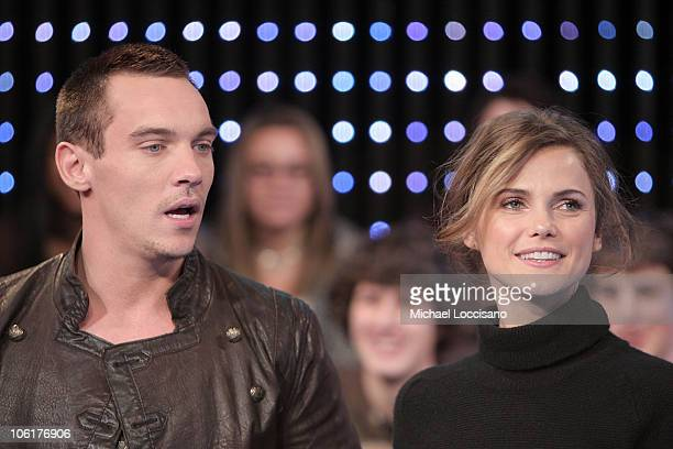 Actor Jonathan RhysMeyers and actress Keri Russell appear on MTV's 'TRL' at MTV's Times Square Studios in New York City on November 12 2007